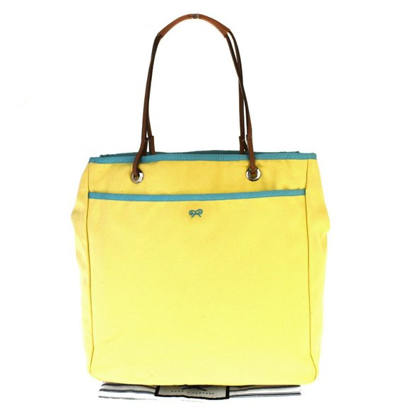 Anya Hindmarch Canvas,Leather Shoulder Bag Yellow